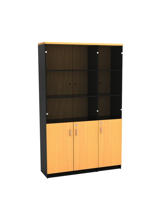 Mortred Bookcase with 3 Door & Glass